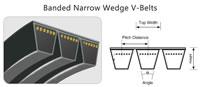25 Banded Narrow Wedge V-Belts, Section View Top Width Pitch Width Height Angle, 3V9J 5V15J 8V25J SPZ SPA SPB SPC