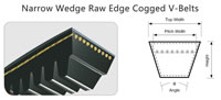 29 Narrow Wedge Raw Edge Cogged V-Belts, Section View Top Width Pitch Width Height Angle, 3VX9N 5VX15N XPZ XPA XPB XPC