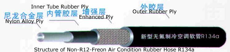 Structure of Non-R12-Freon Air Condition Rubber Hose R134a