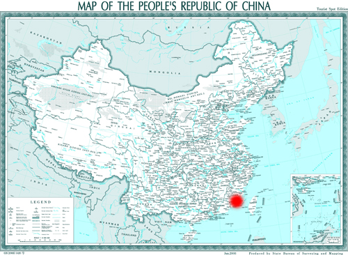 Xiamen city is red marked in China map.